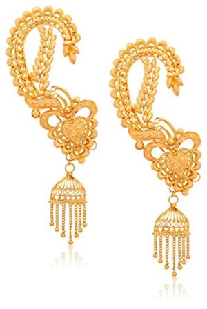 Gold Ear Cuffs Kaan With Jhumka Earrings Savory Jewellery